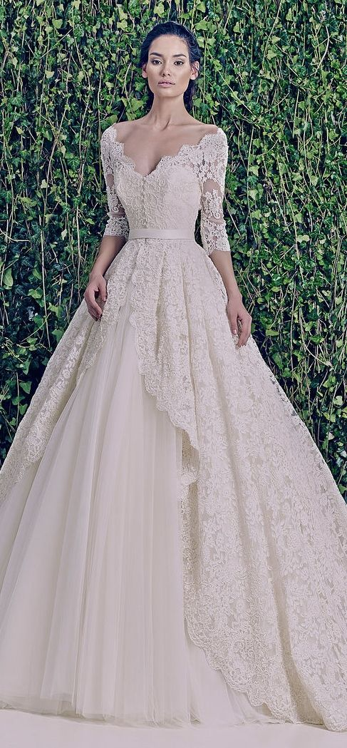 Where the he'll was this dress when we were looking?! Beautiful Zuhair Murad lace wedding dress.