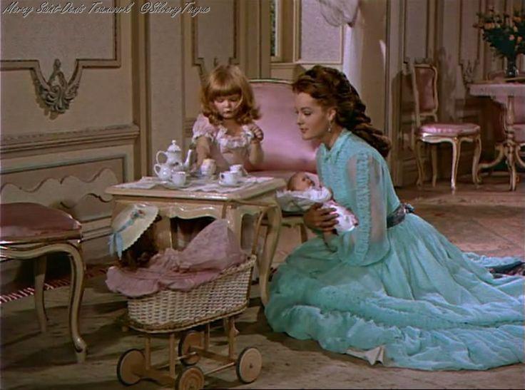 Romy Schneider ,Sissi. Having tea with her child, Gisele.