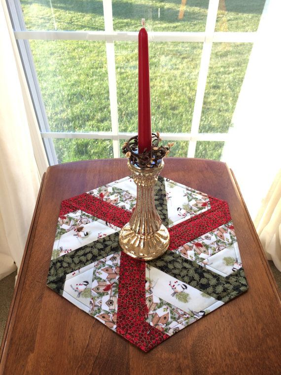 Winter Birds & Bird houses Quilted Hexagon Table Runner, Candle Mat, Table Topper - reversible