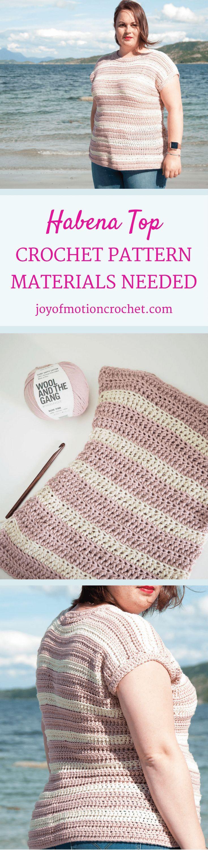 The Habena Top Crochet pattern. Intermediate crochet pattern. Woman's crochet top. Intermediate Sweater. Crochet top. Beginner crochet top. Garment crochet pattern. Crochet clothing. Crochet pattern woman's.  via @http://pinterest.com/joyofmotion/