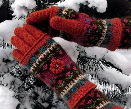 "Ravelry: dom-klary's Fair Isle gloves and mittens, ""Four Seasons - Dancing in the Snow"""