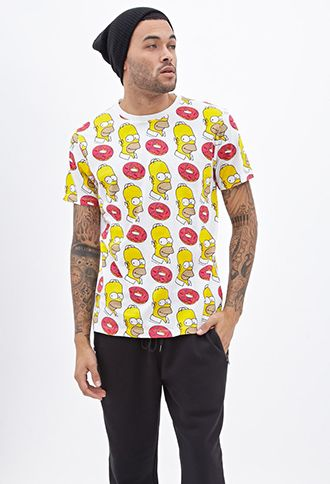 Homer & Donuts Printed Tee | FOREVER21 - 2000100203
