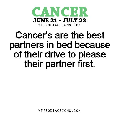 Cancer's are the best partners in bed because of their drive to please their partner first. fun zodiac signs, horoscope sign facts daily.