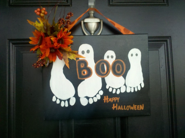 Halloween Ghosts using child's footprints.: Footprint Ghost, Ghost Footprint, Child S Footprint