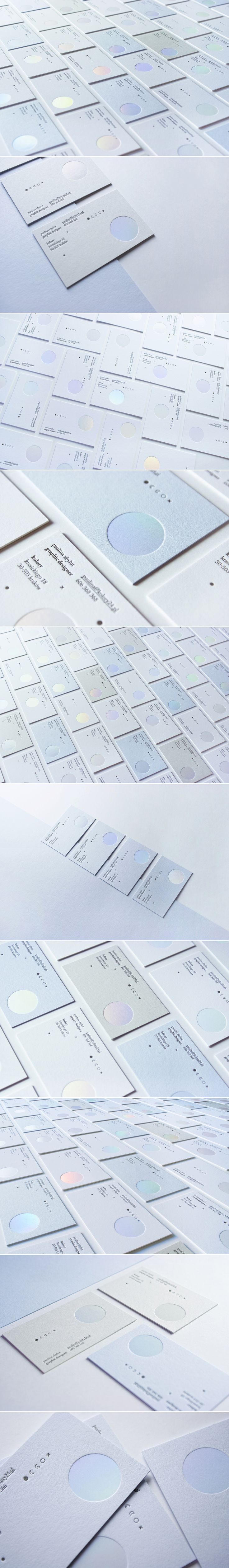 Letterpress & holographic hot-stamping business cards on Behance