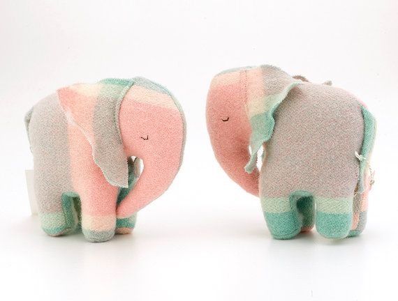 my favourite toy when I was a baby was a little pink elephant, and won't your baby just love these vintage blanket soft elephant toys, the pastel colour combination of pink and sea green is just gorgeous! Vintage Baby Elephant Toy  Sea-green / Pink by zippitydoodahNZ