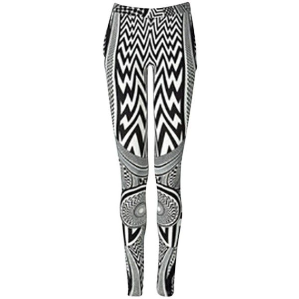 Pre-owned Givenchy Tribal Print Leggings ($520) ❤ liked on Polyvore featuring pants, leggings, none, givenchy pants, givenchy, black trousers, black legging pants and tribal print pants