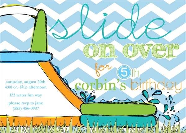 water slide party invites, boy party invitations, water party invites, pool party invitations from party box design! chevron party invites, water slides, summer birthday party themes