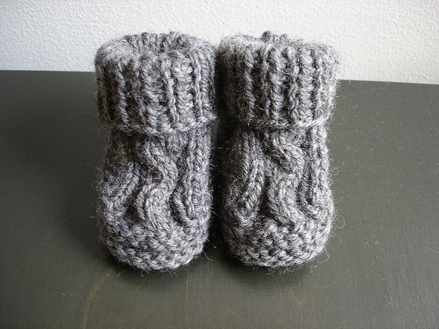 89ce4226d Ravelry  Two Needle Cable Knit Baby Booties pattern by Barbara ...