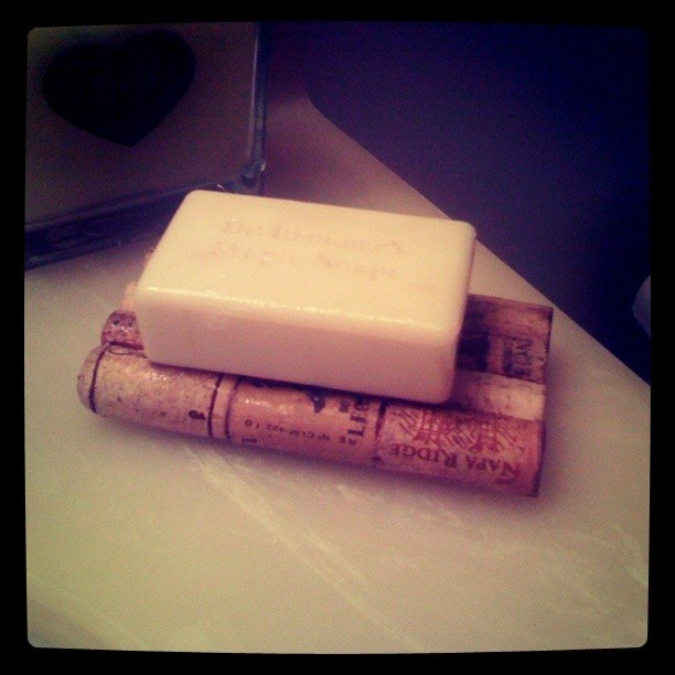wine cork soap holder