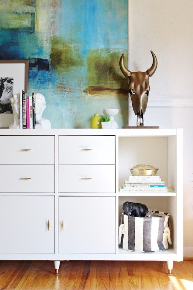 Turn a plain shelf into a stunning dresser with this IKEA hack.