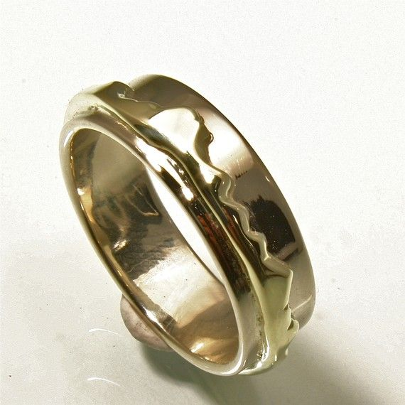 Eternal Mountains Love Mens Wedding Band Green And Rose Gold Hand Made