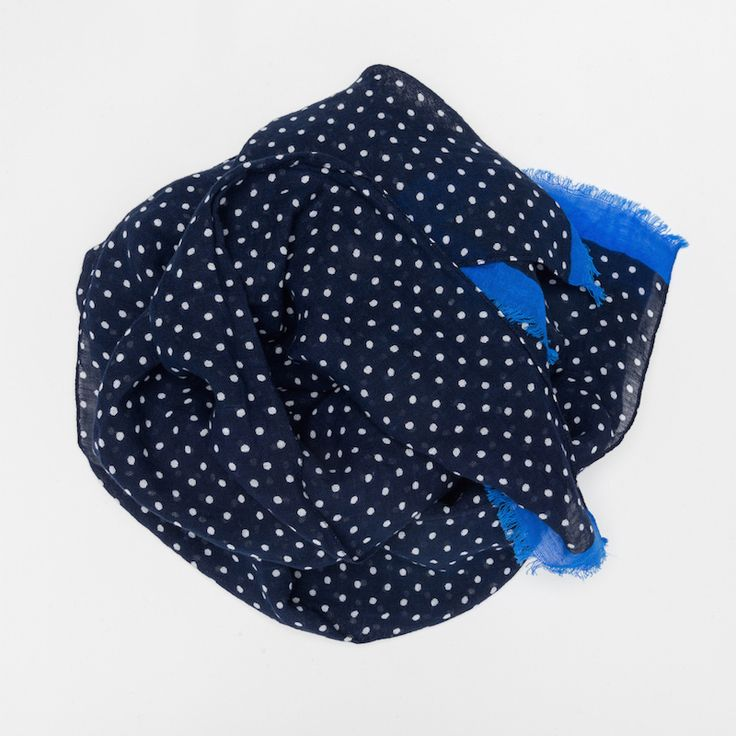 #echarpe #coton #lin #bleu #blue #pois #madeinfrance #madeinitaly #luxe #atelierparticulier