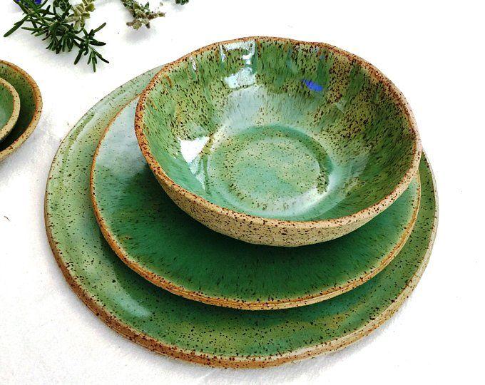 Blue Stoneware Dinnerware Set Set Of 2 Stoneware Plates Etsy Handmade Pottery Plates Stoneware Dinnerware Sets Ceramic Dinnerware Set