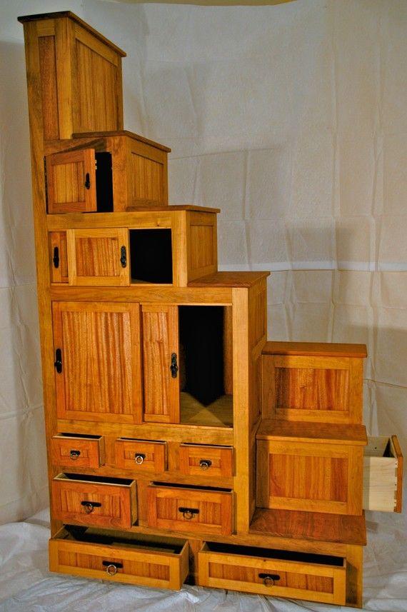 Japanese Tansu Furniture Kaidan dansu (step chest) cherry and mahogany. Meiji era style
