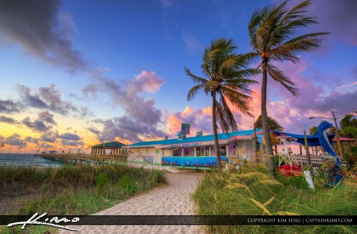 Beautiful morning in Broward County, Florida at Lauderdale by the Sea along the beach and Anglins Fishing Pier. HDR image created using Photomatix Pro and Topaz software.