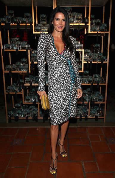 Angie Harmon Wrap Dress - Angie Harmon looked playfully chic in a poodle-print wrap dress by Marc Jacobs at the Divine Decadence event.