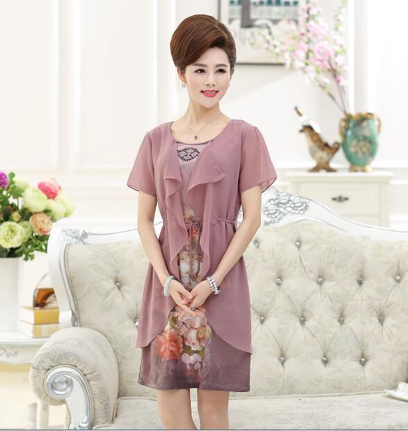 2017 new fashion plus sizes flowers printed elegant women summer silk satin chiffon dress