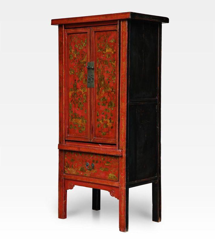 Antico armadio laccato Cina - H. 180 cm - L. 88 cm - P. 53 cm - Olmo - XX Sec - Dinastia Qing - Cina, Shanxi.