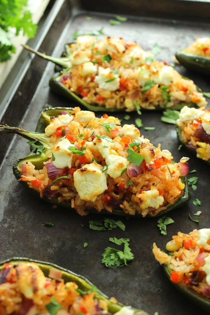 Goat Cheese-Stuffed Poblano Peppers with Mexican Rice | A recipe from Thefitchen.com