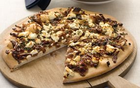 Caramelised onion, feta and thyme pizza