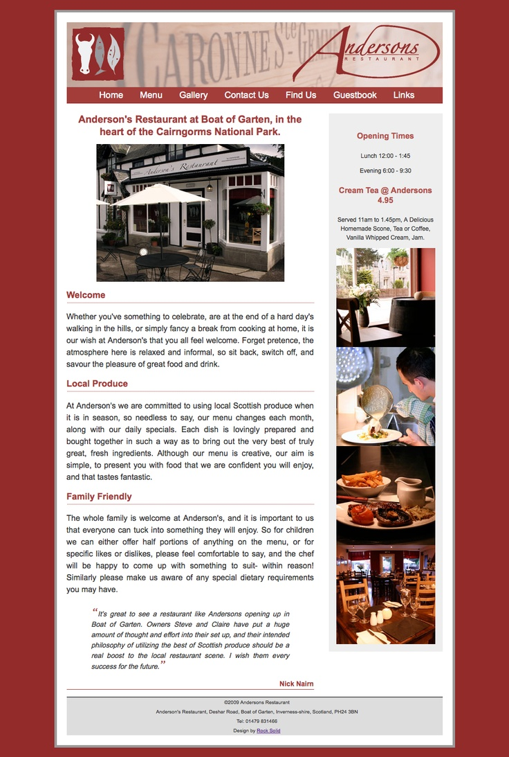 This is a website we did for Andersons Restaurant in Boat of Garten.