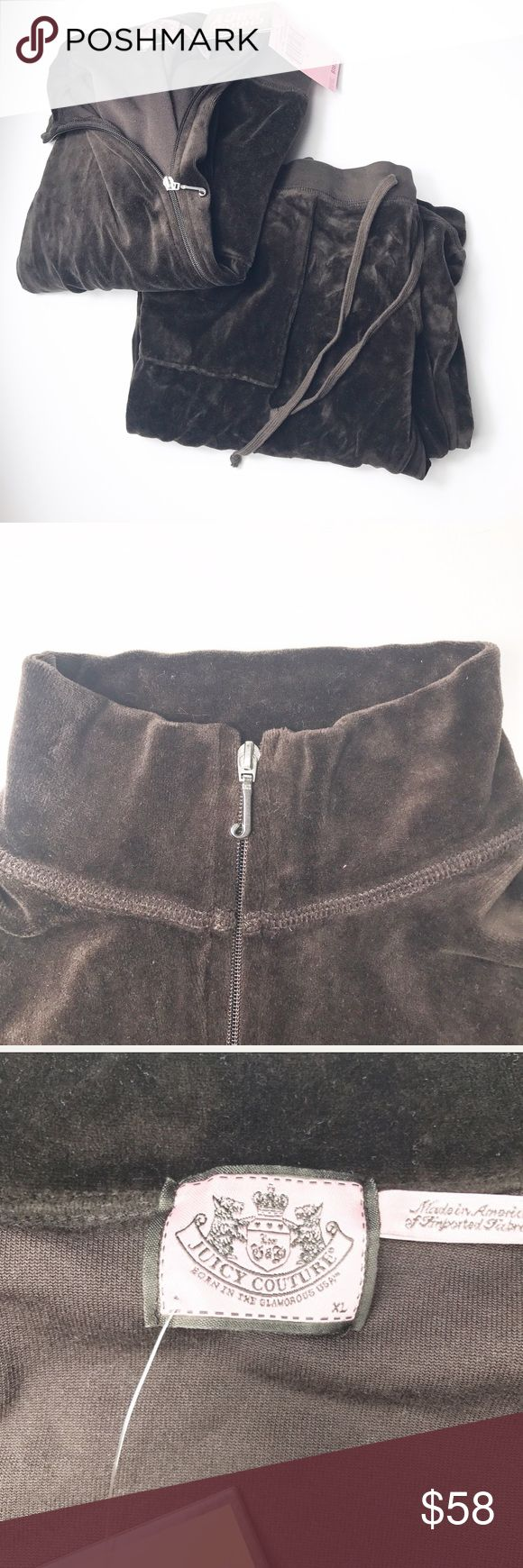 Juicy Couture Sweatsuit This is a two piece , brand new , brown , Juicy Couture sweatsuit . There are two pockets in jacket and two in the pants .The pants are bootcut and very comfortable. Juicy Couture Sweaters