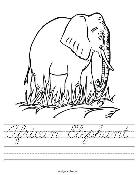 african elephant in grass coloring page and cursive handwriting worksheet elephant pinterest. Black Bedroom Furniture Sets. Home Design Ideas
