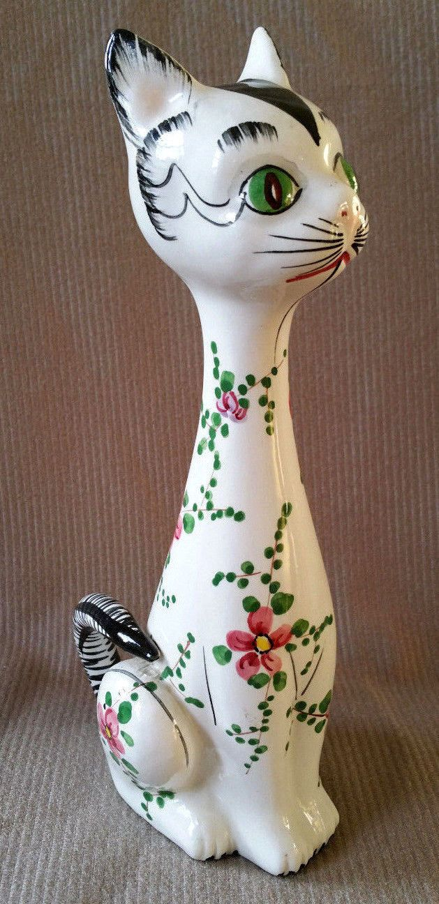 Vintage Ceramic Cat Figurine Italy Hand Painted Statue