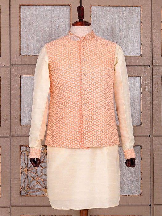 Peach And Cream Festive Wear Waistcoat Set In Silk Fabric, mens indo western