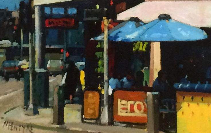 Joe McIntyre_Study for Corner Cafe, Melbourne_Oils_7x11 l Scottish Contemporary Art