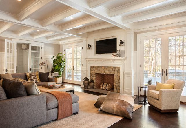 Casual yet very elegant- this room is so well done. It could be a living room, not just a casual hang out space for the family