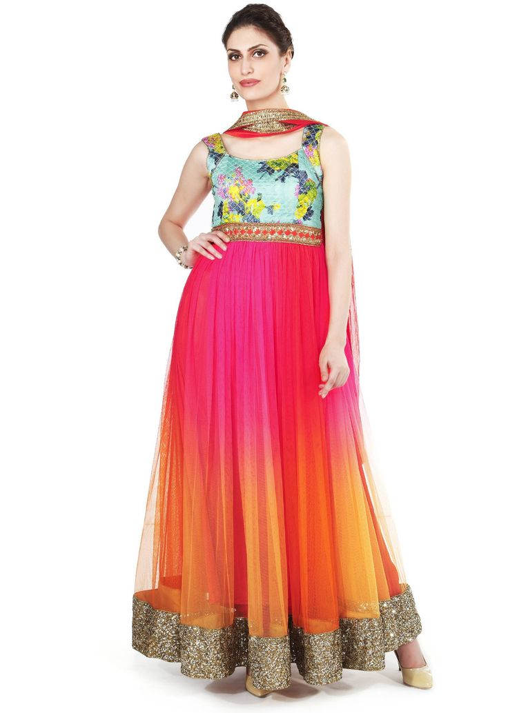 Shaded anarkali suit in orange and pink adorn in sequin embroidery