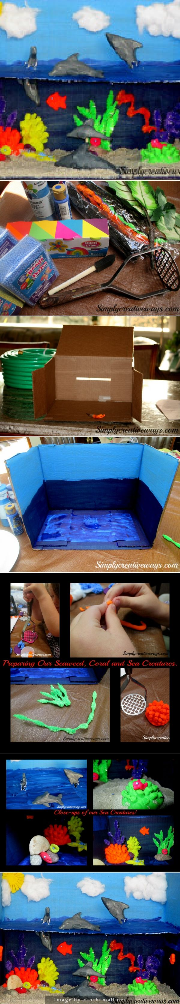 under the sea diorama  http://simplycreativeways.com/dioramas-have-you-ever-made-one/ paint box different blues, dark for under water and lighter for sky. hot glued card stock into middle of box to separate the ocean from sky.paint card both blue paints to create ocean water.used chenille stems bent at different heights to look like seaweed. rolled play-doh into balls and mashed them with a potato masher to create our coral. rocks glued together for home for eel  play-doh fish, clams…