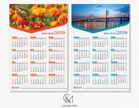 Riang Free One Page Calendar 2019 Template Psd Files