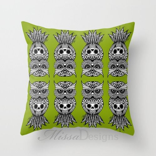 'Sugar Skull Hootle' cushion cover design Colourway: Lime green with black owl. Design by Missa Designs. Copyright 2013