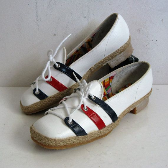 White Red Blue 70s Ladies Shoes Vintage 1970s NOS Espadrille
