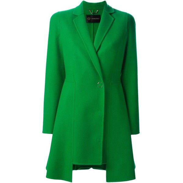 Versace Asymmetric Coat ($3,225) ❤ liked on Polyvore featuring outerwear, coats, green, asymmetrical coat, versace coat, short coat, versace and green coat