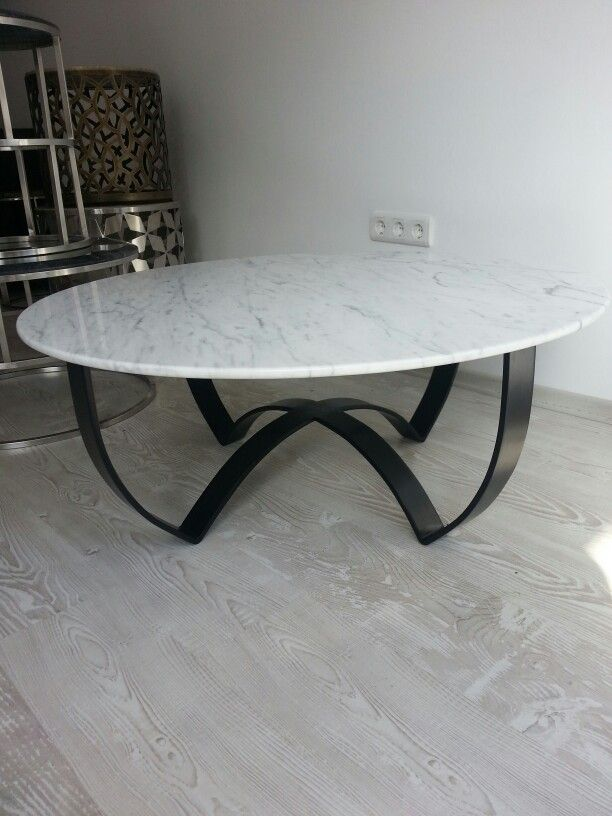 Elektrostatik Boyal Metal Ayak Ve Bianco Carrera Mermer Tabla Marble Coffee