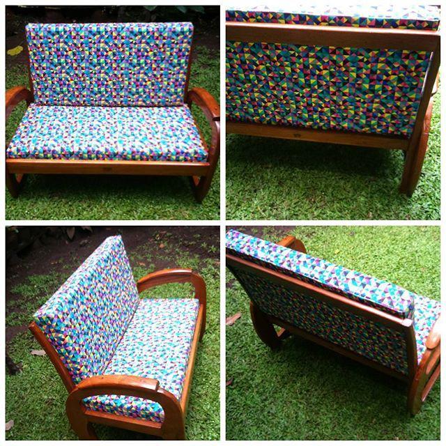 For Sale KURSI SEDAN - Upholstered -Teakwood - Printed canvas fabric -Restorated #chair #kursiantik #antiques #retro #vintage #geometric #upholstered #teakwood #vintagefurniture #vintagechair #homedecor #vintagedecor #interiordesign #designinterior