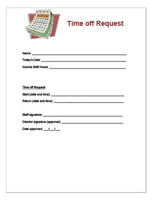 Time Off Request Form For Child Care Staff Books Worth