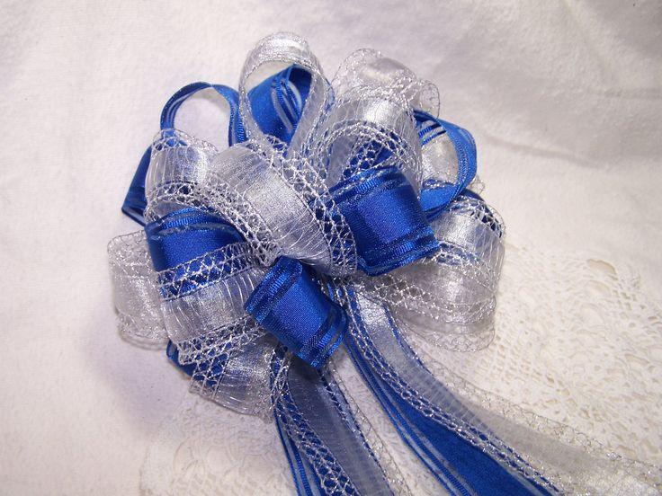 Large 8 inch Silver and Royal Blue Bow Handmade Wreath Pew Holiday Christmas Hanukkah Wedding New Years Decor Gift Party Ribbon. $12.00, via Etsy.