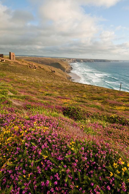 View towards Wheal Coates Mine, St Agnes, West Cornwall, England