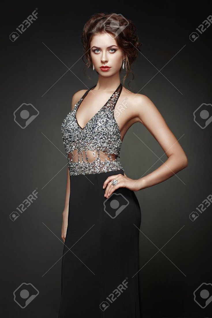 Fashion portrait of beautiful woman in elegant dress. Girl with elegant hairstyle and jewelry Stock Photo , #AD, #woman, #elegant, #beautiful, #Fashio...
