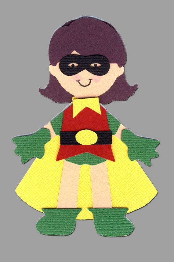 Robin Girl Super Hero Scrapbook Die Cut Doll Superhero Project Life Silhouette Cameo Cricut