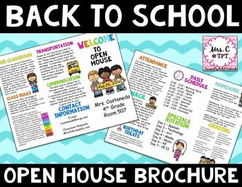 *This file will open in PowerPoint*This open house brochure is completely editable!!!  This is a great download and an excellent way to provide parents with important information about your school and your classroom.Please let me know if you have any questions about this purchase!