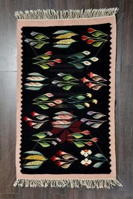 Carpeta romaneasca Lucrata manual - lana traditionala 42x44 - Motivul Porumb