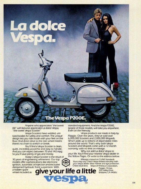 "1979 VESPA Moped Scooter Ad ""La Dolce"""