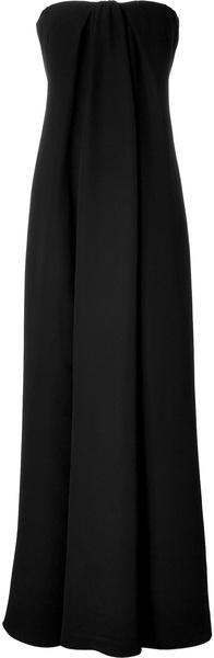 valentino Black Silk Strapless Gown - Lyst
