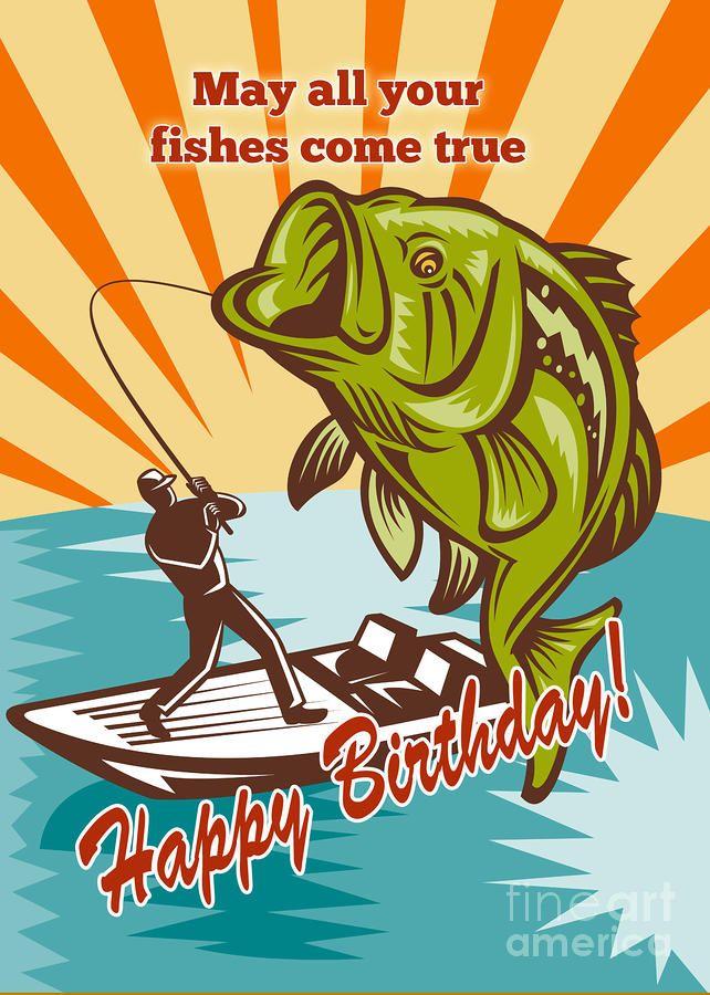 happy birthday card bass    Fly Fisherman On Boat Catching Largemouth Bass Digital Art